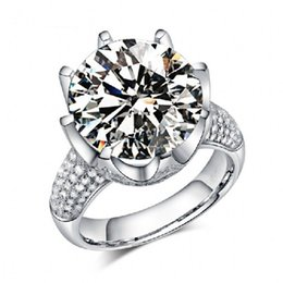 China Jewelry Women Solitaire Round cut Big 8ct Topaz Diamonique Simulated Diamond 925 sterling silver Wedding Bridal Band Ring gift Size 5-10 supplier bridal jewelry set 925 silver suppliers