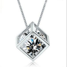 925 silver austria crystal online shopping - 2015 Fashion Sterling Silver Box Chain Austria CZ Diamond Crystal Love Magic Cube Square Shape Pendant Necklace For Women Wedding Gift