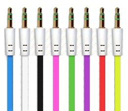 3,5 мм aux кабель плоский кабель аудио кабель для устройства громкоговорителя 1 метр красочный на Распродаже