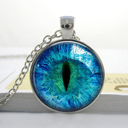 Animal Handmade Canada - Wholesale Cat Eye Necklace Pendant. Charms. Art. Picture. Photo. Blue and Black. Handmade Jewelry