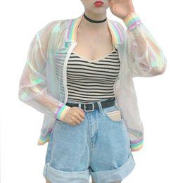 Discount laser beads - Wholesale- Harajuku Summer Women Jacket Laser Rainbow Symphony Hologram Women BasicCoat Clear Iridescent Transparent Bom