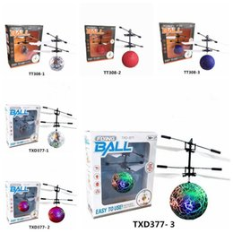 Chinese  6 Styles Air RC Flying Ball Drone Helicopter Ball Built-in Shinning LED Lighting for Kids Colorful Flying Helicopter Toy CCA7960 30pcs manufacturers