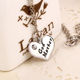 Wholesale God Mother Necklace silver heart pendant nacklece New Arrival Chain Necklace Christmas gift for Mother