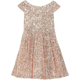 Discount girl sequin short pageant dresses - 2019 Bling Rose Sequins Girls Pageant Dresses Bateau Capped Sleeves Zipper Tea Length Ruched A Line Flower Girl Dresses