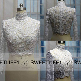 Barato Alto Pescoço Bolero Barato-Hot Sale Lace Bridal Wedding Jacket Coat High Neck Applique Beads Long Sleeves Bridal Wrap Bolero Custom Made Cheap High Quality Acessórios