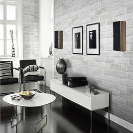 Beautiful Design Home Decoration White Grey Textured 3D Brick Pattern Wallpaper Roll Improvement 10 053M