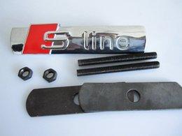 1 conjunto S LINHA Sline Metal 3D Frente Frente Capa Do Carro Emblema Grade Emblema logotipo adesivo para A1 A3 A4 A5 A6 A6 A8 Q3 Q5 Q7 em Promoção