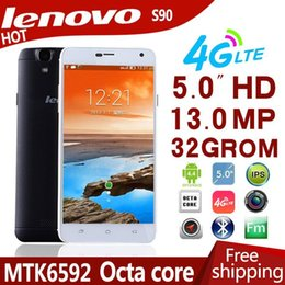 Free shipping cheap Original Lenovo S90c MTK6592 Octa Core 13.0MP Mobile Phone 4G RAM 32G ROM 5.0'' IPS Android 4.4 cell phones 4G LTE FDD