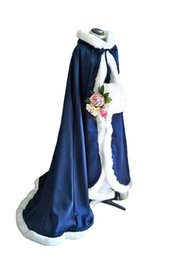 Navy hats online shopping - Stunning Fall Winter Fur Bridal Coat Wraps Jackets with Hat Cheap Bridal Wraps Warm Newest Long Wedding Cloak Capes Bolero
