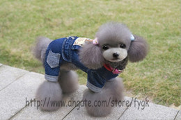 Cheap Sweatshirts Wholesale Canada - Pet Clothes Dog Clothing Dog Fancy Jeans Pants Warm Winter Dog Sport Sweater Cheap Pet Jumpsuit Coat Warm Fleece Pet Clothes 5 Size