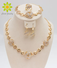 Gold Filled Costume Jewelry Canada - Free Shipping African Gold Plated Romantic Fashion Clear Crystal Necklace Sets Fashion Costume Jewelry Sets