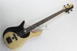 Left Handed Basses Canada - Left Handed High Quality Tai Chi Fodera Bass Nature Wood One Piece Maple Neck through the Alder Body Butterfly 4 String Electric Bass Guitar