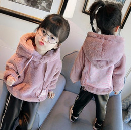 Barato Casaco Hoodie Cinza-New Winter Warm Girls Hoodies Kids Thick Hooded Long Sleeve Tops Crianças Soft Nap Outwear Coats Pink Grey 13586