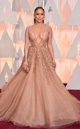 Sexy Nude V Pas Cher-Oscars 2017 Red Carpet Beaded Robes de soirée Jennifer Lopez En Elie Saab Celebrity Dress Pearls Nu Tulle Appliqued Backless Prom Gown
