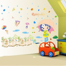 Cartoon Stick Wall NZ - Lovely Girl in the Rainy Wall Art Decal Sticker Cartoon Rainy Day Wall Mural Poster Decor Kids Room Nursery Wall Decoration Paper