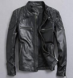 Großhandel Männer Lederjacke Motorrad Leder Slim Schaffell Lederjacke Haining Männer einzigen Absatz kurzen schwarzen Mantel