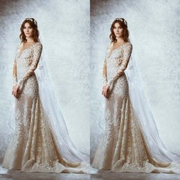 Wedding Dress Sheath Canada - Top Elegant Long Sleeves Corset Wedding Dresses Bridal Gowns V-neck Sheath Court Train Backless Church Wedding Dresses Custom Made 2017