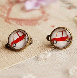 Boucles D'oreilles Clips Pour Enfants Pas Cher-Fashion Cute Car Clip Earrings sans piercing pour enfants Vintage Bronzed Earrings Personalized Livraison gratuite Christmas Gift -J557