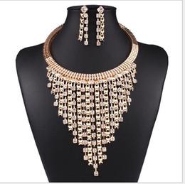 Top China Wholesale Fashion Jewelry NZ - Europe new top grade luxury fashion multilayer tassels Cz diamond necklace+earring jewelry set