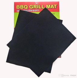 stick coating NZ - BBQ Grill Mat Set of 2 Non Stick Reusable Washable Plate PTFE Coated Telflon Mats