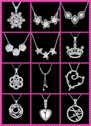 silver crown cross necklace 2019 - 50 styles choose 10pcs 925 silver plated crystal sailing flowers crown tower heart cross wings of the angel Charm pendan