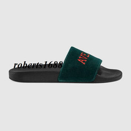 $enCountryForm.capitalKeyWord UK - 2017 new arrival mens and womens fashion green Velvet slide sandals slippers with embroidery outdoor beach causal flip flops