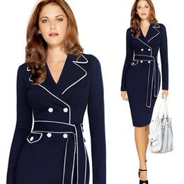 Barato Vestidos Mais Longos Do Negócio Do Comprimento-2018 Plus Size 4 Color Office Ladies Formal Business Work Wear Vestidos Comprimento do joelho com cinto Fall Spring Long Sleeve Bodycon Pencil Dresses