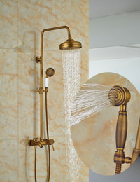$enCountryForm.capitalKeyWord Australia - Wholesale And Retail Classic Antique Brass Round Rain Shower Head Wall Mounted Shower Column Mixer Tap W  Tub Spout