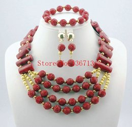Indian Coral Beads Canada - Orangered Fashion Nigerian wedding african Coral Beads jewelry set costume jewelry set Free shipping HD102-2