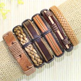 $enCountryForm.capitalKeyWord NZ - Free shipping wholesale (6pcs lot) cool bangles ethnic tribal genuine adjustable leather bracelet for Unisex-TE33