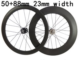 Bicycling Gear Australia - Track carbon Road Bike wheels front 50mm rear 88mm carbon bicycles fixed gear wheelset 23mm rims 3K weave glossy matte finish