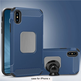 Hybrid Iphone Phone Case NZ - For iPhone X 8 7 Plus Magnetic Hard Back Case Hybrid Brushed Metal Shockproof Phone Cover for iPhoneX Samsung Galaxy S8 Note 8