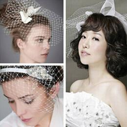 $enCountryForm.capitalKeyWord Canada - New Arrival White Wedding Dress Bridal Headwear DIY Net Yarn Veil With Pearl Diamond Wedding Hair Accessories