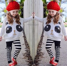 Panda Shirt Girl Pas Cher-New Spring filles Set pailletée Panda Cartoon T-shirt + pantalons Stripe Leggings Enfants Tenues Sets Vêtements Enfants Set