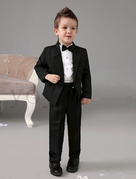 $enCountryForm.capitalKeyWord Canada - Four Pieces Luxurious Black Ring Bearer Suits cool Boys Tuxedo With Black Bow Tie kids formal dress boys suits fashion kids suits