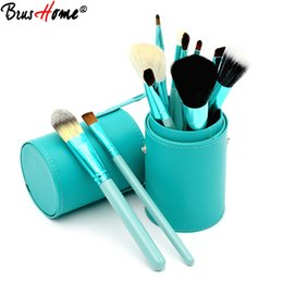Barato Conjunto Profissional De Cupping-Novo 12pcs Professional Beauty Cosmetic Brush Set Contour Blending Powder Liquid Foundation Make Up Brushes com Pu Cup Holder