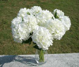 Wholesale Bouquets Canada - Elegant Hydrangea Artificial Silk Flower Wedding Centerpieces Bouquet Christmas Ornament Garland Home Decoration 6 Color New Arrival