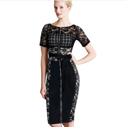 sexy s out dress 2020 - Lcw New Fashion Womens Elegant Crochet Lace Mesh Front Zipper Belted Sexy Club Party Formal Office Sheath Pencil Dress c