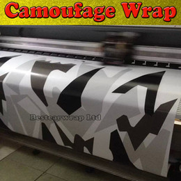 camouflage sticker roll NZ - Black white Grey Arctic Camouflage   Camo Vinyl For Car Wrap Pixel Camo Sticker Film with air release Vehicle graphic Size:1.52 x 30m Roll