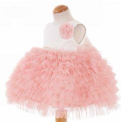 Cheap Little Flower Girls Dress NZ - Real Sample Custom Made Flower Girl Dresses Cheap Little Pretty A Line Jewel Tiered Knee-Length Tulle Dress