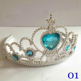 Discount cheap party crowns - 2017 Frozen diamond crown Christmas headbands Princess crowm Children's birthday party Gift 6 colors Cheap crown