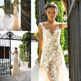 Chinese  Bohemia 2018 Milla Nova Sexy Full Lace Sheath Wedding Dresses Sleeveless Champagne Summer Beach Garden Bridal Wedding Gowns Sheer Back Tulle manufacturers