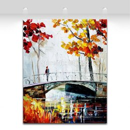 $enCountryForm.capitalKeyWord Canada - Modern Palette Knife Painting Riverside Landscape Up on The Bridge Canvas Printing Mural Art for Home Living Wall Decoration