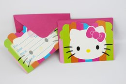 Pack Supplies Australia - Wholesale- 6pcs pack Hello Kitty Happy Birthday Party Decoration Kids boy girl event Supplies Favors Invitation Cards