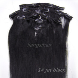 "hair jet black 26 inches 2018 - Clip in Remy Human Hair Extensions 15""-26"" 7pcs 1# Jet Black, Brazilian Malaysian Peruvian Indian Virgin Remy"