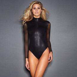 Barato Lingerie Longa E Sexy-Plus Size M-2XL Hot Sexy Women Long Sheer Mesh Sleeve Lingerie Erotic Bondage Latex Catsuit Roupa de dormir Thong Leotard Bodysuit