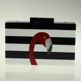 $enCountryForm.capitalKeyWord Canada - Wholesale- 2017 New Flamingo Evening Clutch Bag Black White Striped Acrylic Clutch Women Golden Chain Handbag Famous Brand Mini Box Clutch