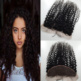 """Middle Part Closure Piece Canada - Lace Frontal Hair Pieces Remy Peruvian Lace Frontals 13*4 1B Middle Part Virgin Deep curly Lace Frontal Closure Hair 10""""-24"""" Hair"""