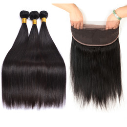 cheap human hair lace fronts UK - Unprocessed Virgin Brazilian Hair Straight With 360 Lace Frontal Wholesale Cheap Brazilian Human Hair Extensions 360 Lace Front
