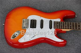 Solid Body Electric Guitar Cherry Canada - Wholesale Cherry burst color slim basswood body electric guitar,accept upgrade material and hardware,free shipping hot selling guitars